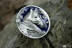 BOLO TIE HORSE HEAD BLUE