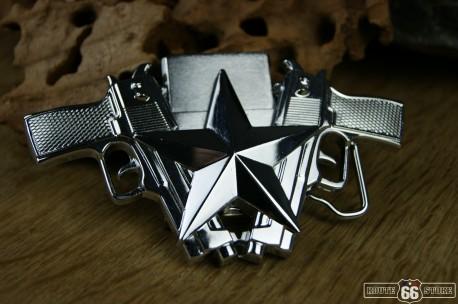 Přezka opasková Gun Star chrom + zapalovač
